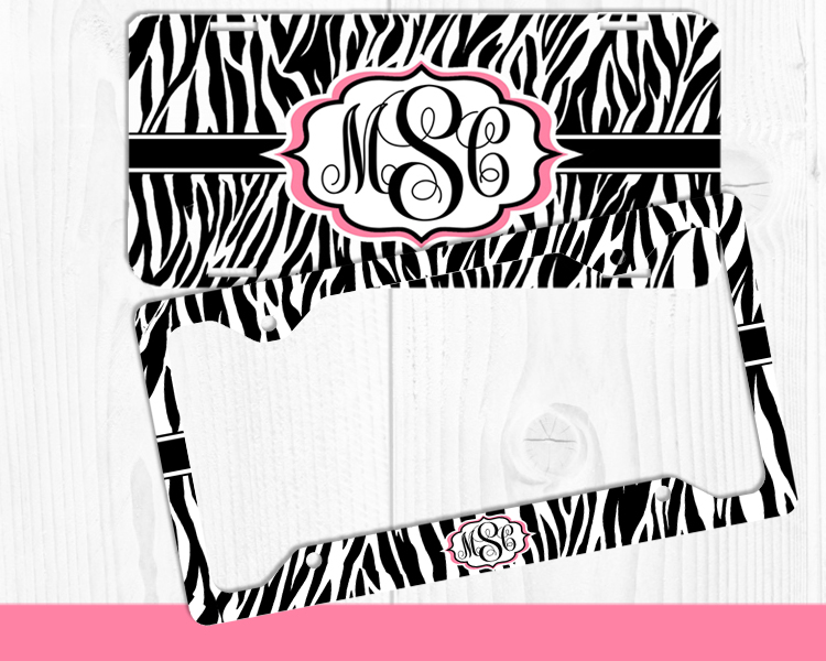 ZEBRA MONOGRAM LICENSE PLATE FRAME SET CAR TAGS PERSONALIZED CUSTOM ...